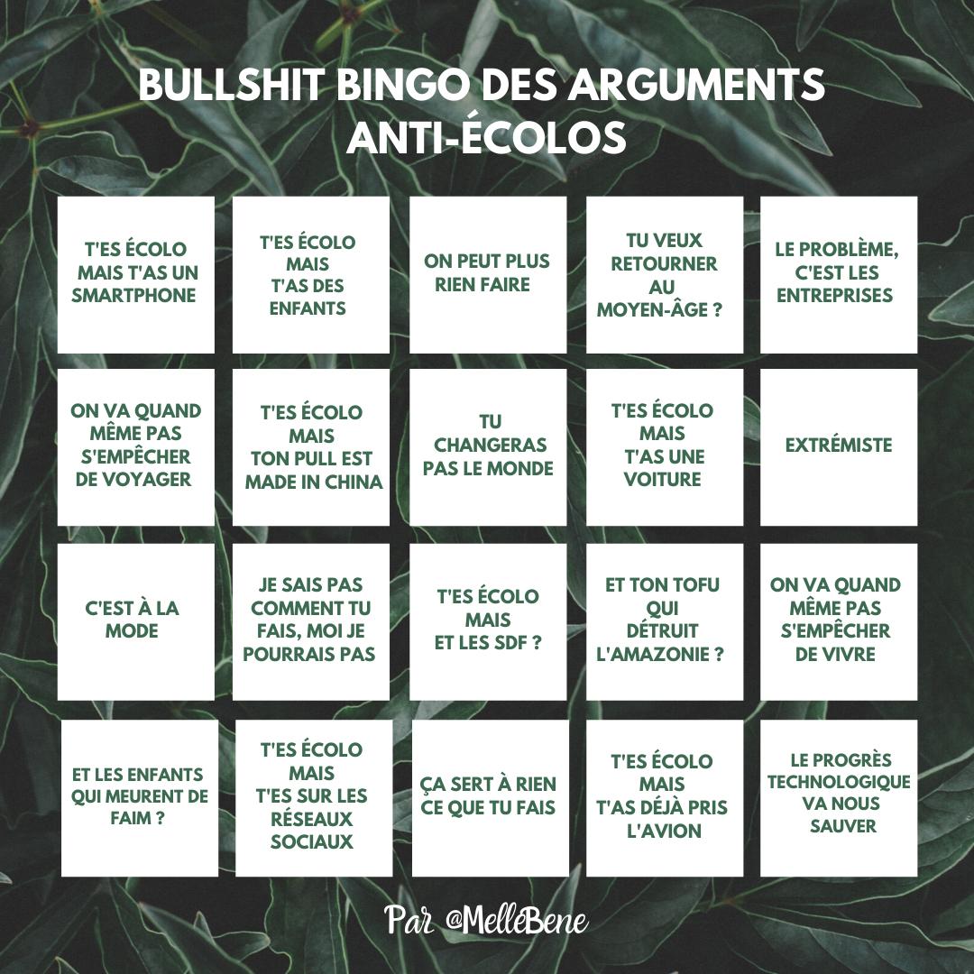 Grille de bullshit bingo des arguments anti-écolos