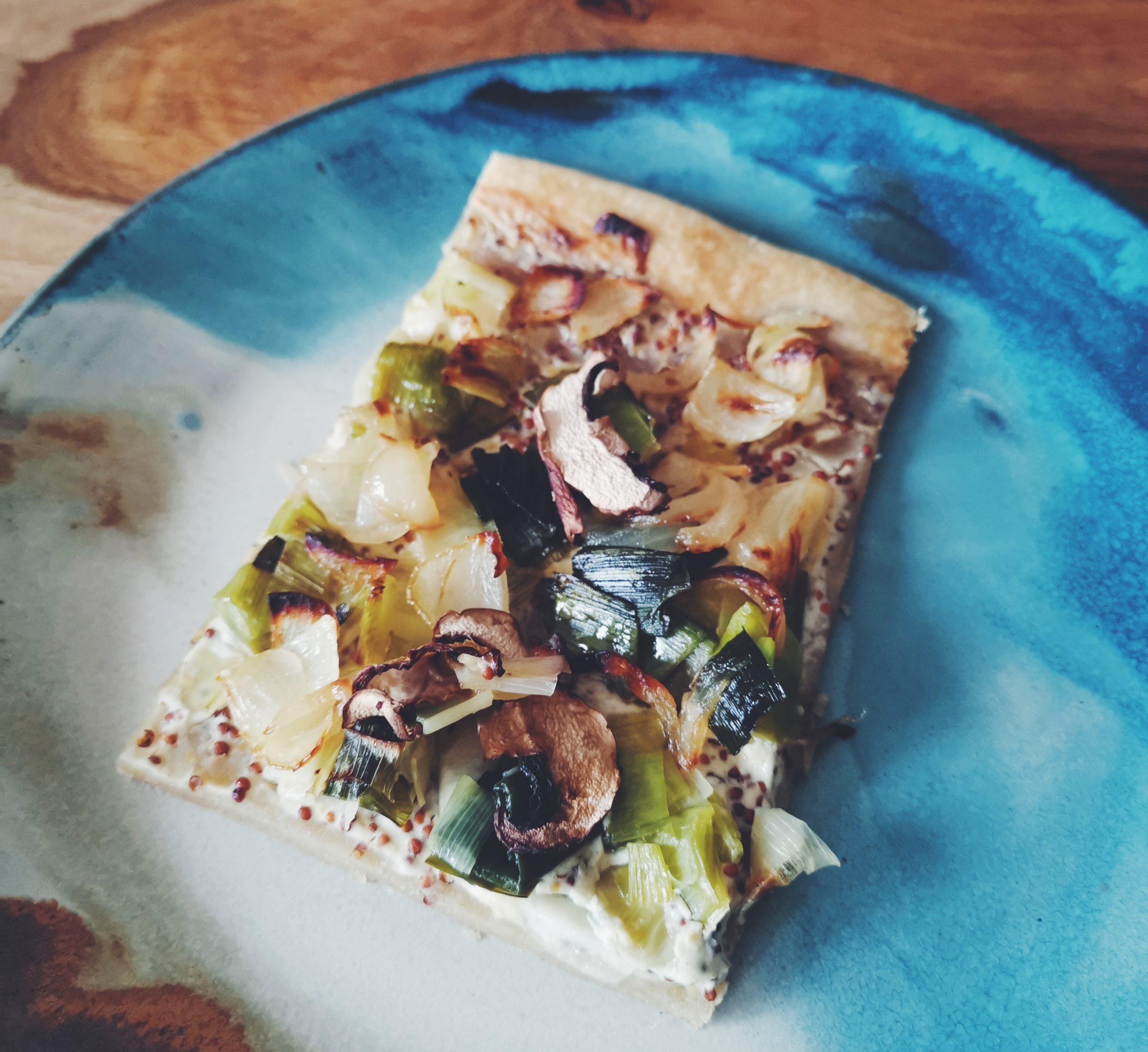 flammekueche vegan poireaux champignons