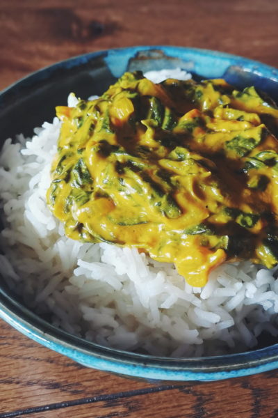 Palak paneer vegan (ou curry d'épinards au fromage)