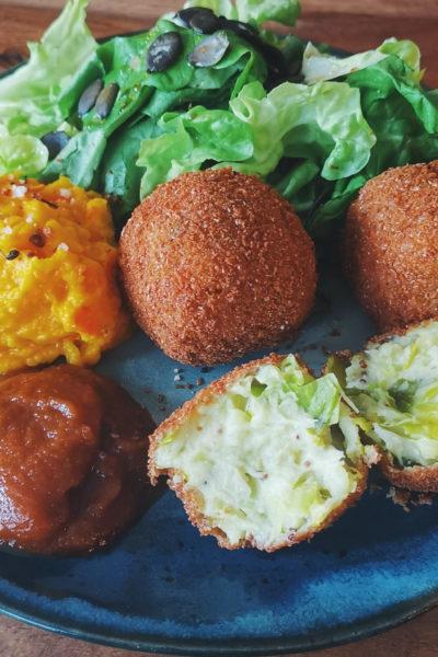 Croquettes de pommes de terre au poireau et moutarde à l'ancienne véganes